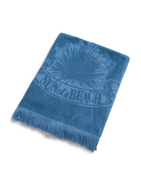 Monochrome Beach Towel Just Blue