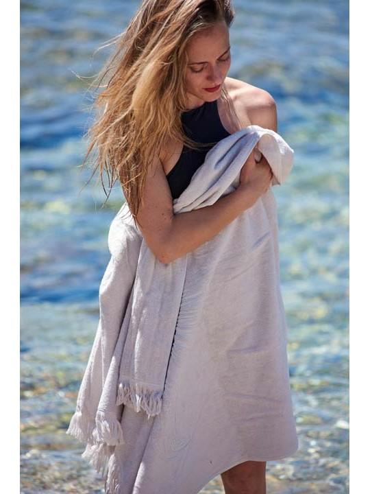 Monochrome Beach Towel Just Pearl