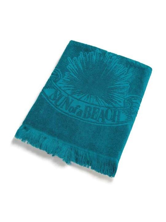 Monochrome Beach Towel Just Teal