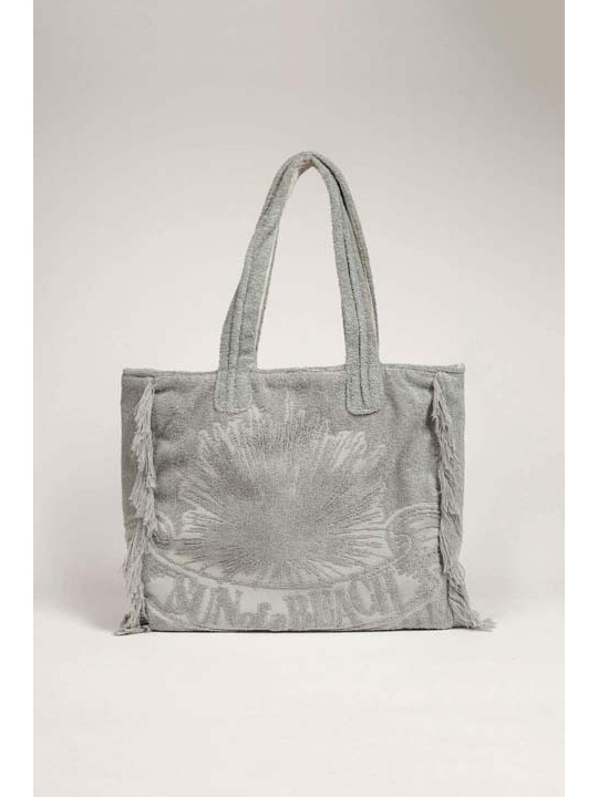 Terry Tote Beach Bag Just Silver