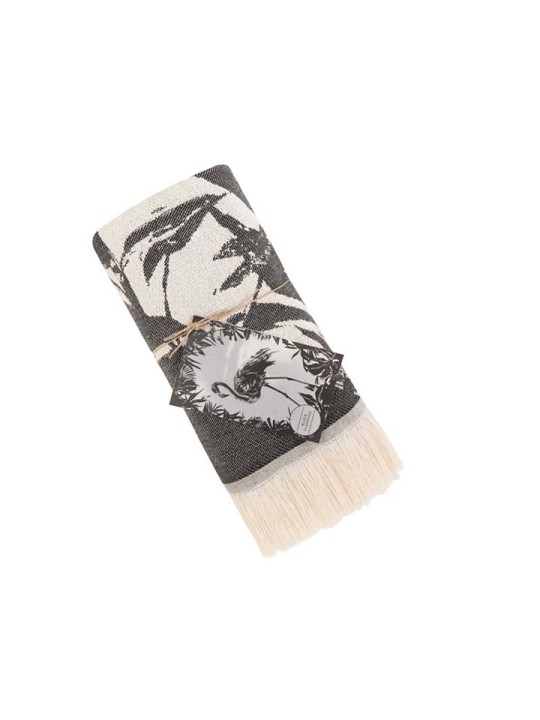Feather Beach Towel Black Flamigo