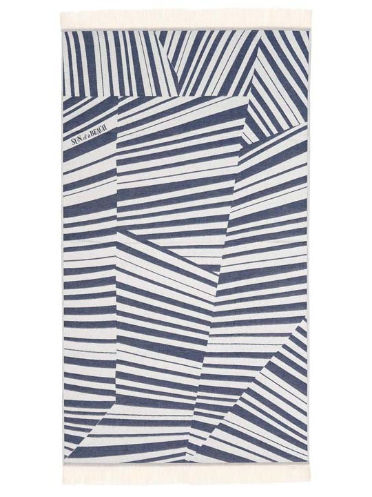 Feather Beach Towel Cycladic Tiles Blue