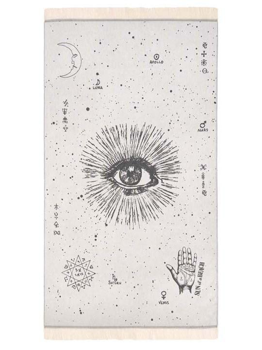 Feather Beach Towel The Cosmos Eye Black